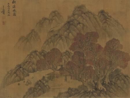 秋溪晚靄畫軸