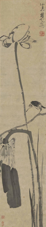 孤鳥棲荷圖