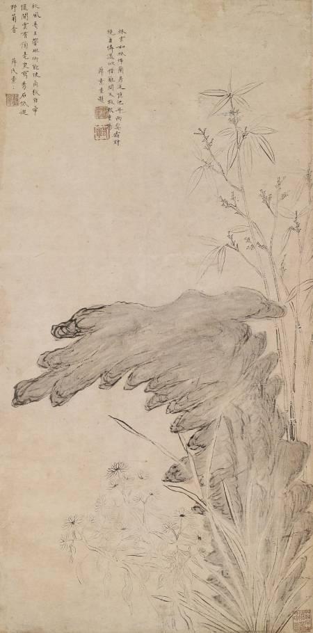 竹菊奇石圖軸