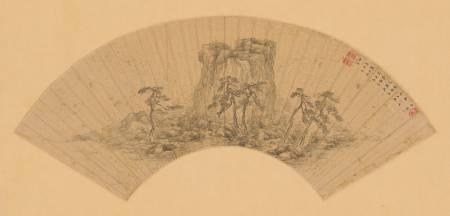 茅洲五老拱壽扇面